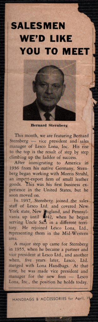Bernard Sternberg in newspaper