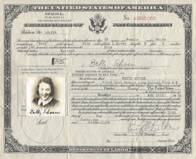 Betty Sternberg's Naturalization