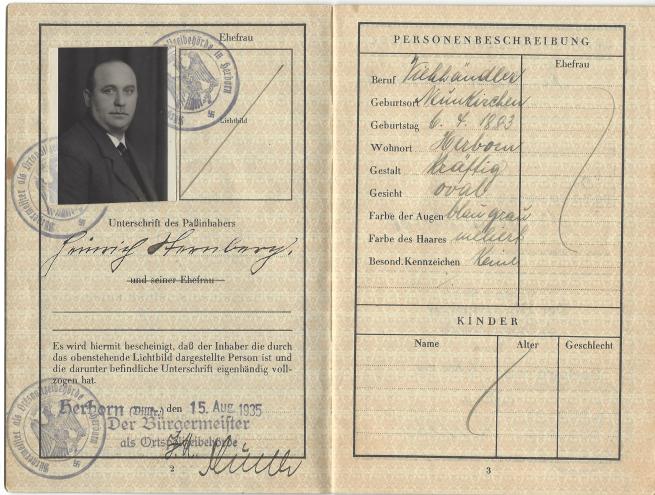 Heinrich Sternberg Passport, pg 2