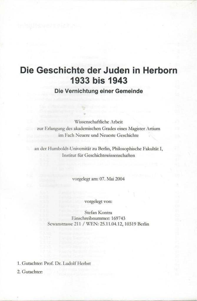 Die Geschichte der Juden in Herborn 1933 bis 1943
