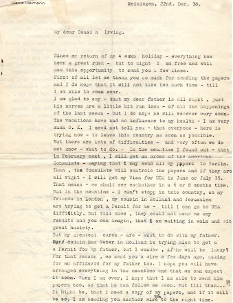 Another letter from Heinz, this time in English, likely as the Heimanns were practicing to prepare for emigration.