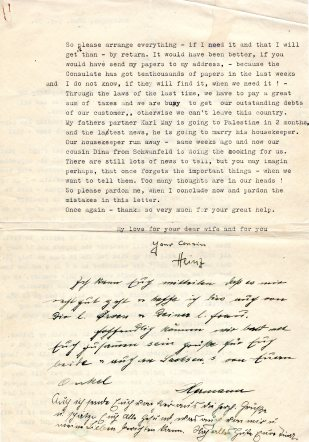 Letter from Heinz Heimann, December 22 1938 - 2