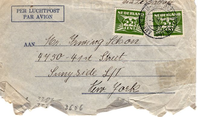 Envelope from Tina Waterman, May 2, 1941