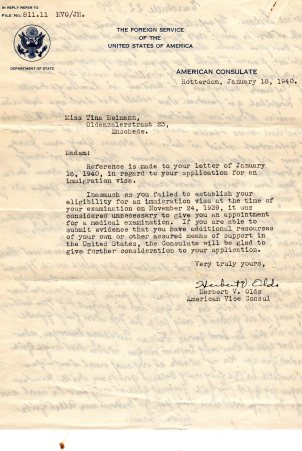 A letter indirectly notifying Tina Heimann of her denied emigration.